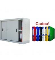 DULAP METALIC CU USI CULISANTE 2 RAFTURI 1200x450x900, ECO+, 40 kg/polita+5 Bibliorafturi Cadou