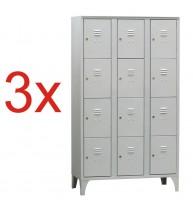 3x DULAP VESTIAR METALIC CU PICIOARE SI 12 compartimente 170/12