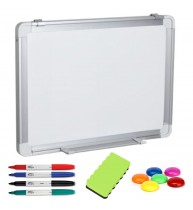 TABLA ALBA MAGNETICA 150x100 cm rama aluminiu, +Plus Office+CADOU! (Set 4 markere+burete+magneti)