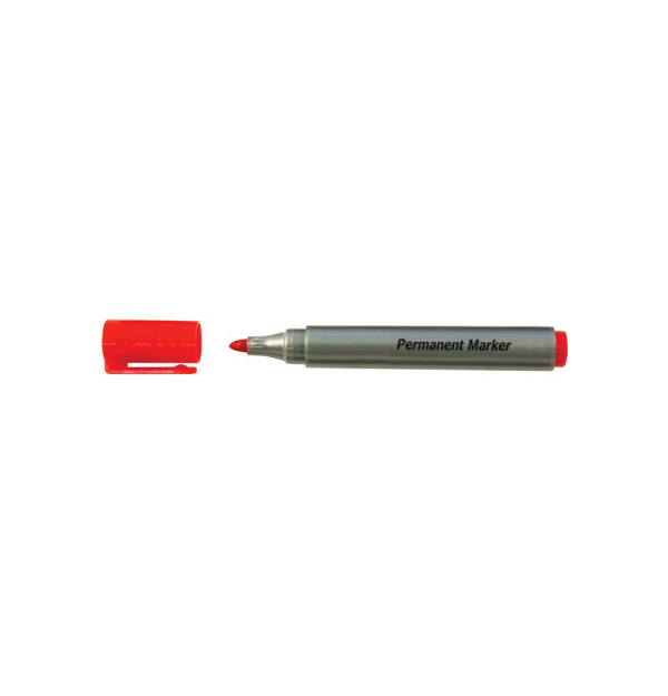 Marker permanent, corp plastic, rotund, argintiu, diametru corp 15 mm, capac cu clip de prindere, in