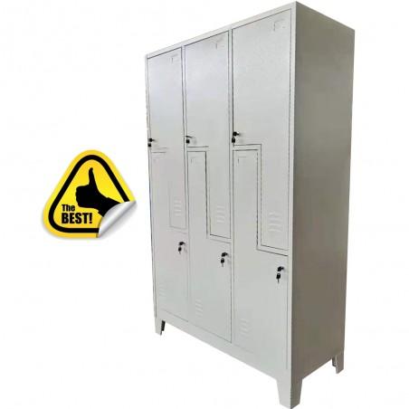 VESTIAR METALIC CU PICIOARE SI 6 USI Z (3x2) 1200x500x1920 mm (LxlxH), Asamblat, PLUS
