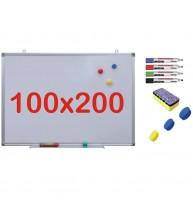 Pachet Tabla alba magnetica, 100x200 cm Premium + accesorii: markere, burete, magneti (7 ani Garantie)