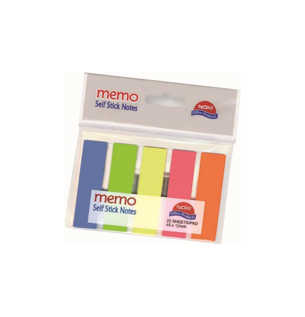 Index Adeziv Plastic 12 x 45 mm 5 culori 25 File/Culoare Noki