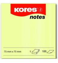 Notes Adeziv 75x75 mm Galben Pal 100 File Kores