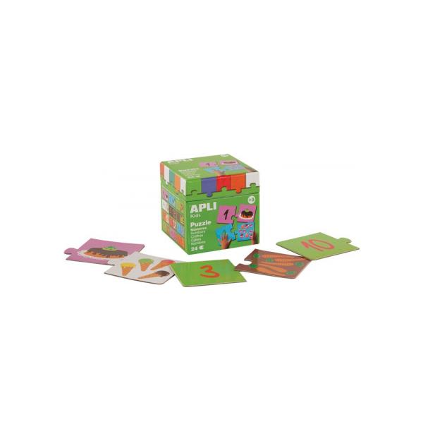 Puzzle educativ Apli, cu tema numere, 24 de piese