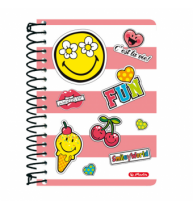 CAIET CU SPIRALA 10X14CM, 200 FILE, SMILEYWORLD GIRLY