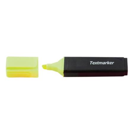 Textmarker, corp plastic, dreptunghiular, negru, capac in culoarea scrierii, varf retezat, 2 - 5 mm,