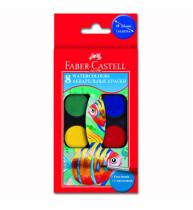 Acuarele 8 culori 24MM + Pensula Faber-Castell