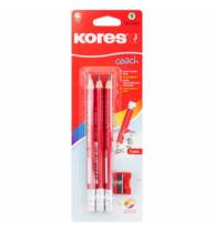 Creioane Kores triunghiulare Coach Grafitos, 3 buc/blister