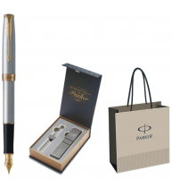 STILOU PARKER SONNET ROYAL Stainless Steel GT+CUTIE PT. CADOU BRITISH COLLECTION CU ETUI, model 1+PUNGA PT. CADOU