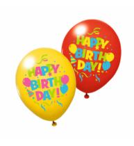 BALOANE HAPPY BIRTHDAY DIVERSE CULORI, CALITATE HELIUM, BIODEGRADABILE, SET 6 BUCATI