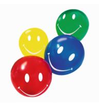 BALOANE SMILE DIVERSE CULORI, CALITATE HELIUM, BIODEGRADABILE, SET 10 BUCATI