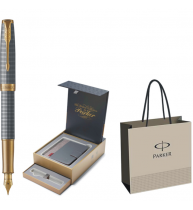 STILOU PARKER SONNET ROYAL Chiselled Silver GT+CUTIE PT. CADOU BRITISH COLLECTION ORGANIZER+PUNGA PT. CADOU