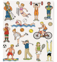 Etichete autoadezive Apli tematice, 3 coli/set, 54 etichete/set, Sporturi