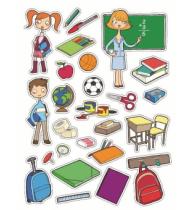 Etichete autoadezive Apli tematice, 3 coli/set, 75 etichete/set, scoala