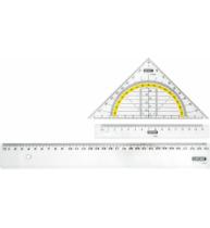 Set geometrie format din rigla 30 cm si rigla 15 cm, raportor, echer 15 cm