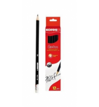 Creion grafit Kores, hexagonal, cu radiera, 12 bucati/set