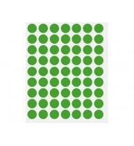 ETICHETE BULINA DIAMETRU 14 mm, 630 buc/set, verde