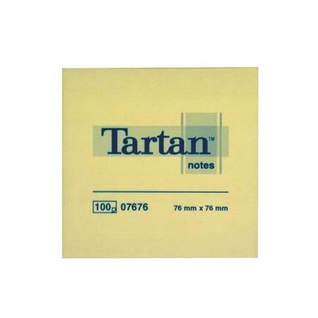 NOTES AUTOADEZIV 3M TARTAN 76x76 mm, galben pastel