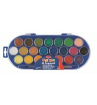 Acuarele Morocolor cu pensula, diametru pastila 30 mm, 22 culori/set