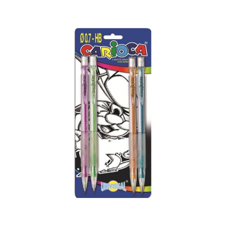 Creion mecanic Carioca, 0.7 mm, 4 bucati/set