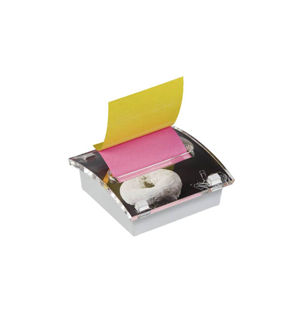 DISPENSER MILLENIUM ART POST-IT PT. NOTES AUTOADEZIV 76X76 mm, roz/galben neon
