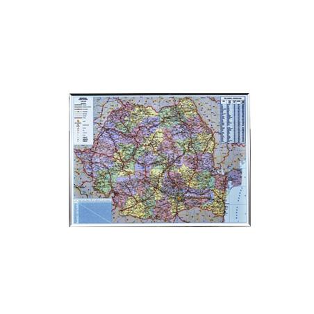 HARTA ROMANIEI ADMINISTRATIV-RUTIERA PE SUPORT MAGNETIC 140x100 cm