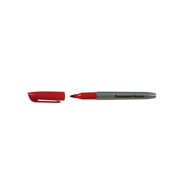 Marker permanent, corp plastic, rotund, argintiu, diametru corp 10 mm, capac cu clip de prindere, in