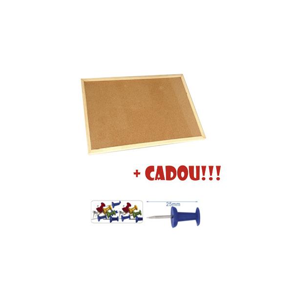 PANOU PLUTA 90x120 cm, rama lemn + CADOU!!! (Pioneze panou pluta asortate 35 buc/cutie)