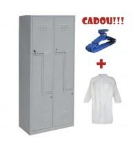 VESTIAR METALIC CU 4 USI Z, ECO + CADOU!!! (10 buc Umeras vestiar + 10 buc HALAT ALB)