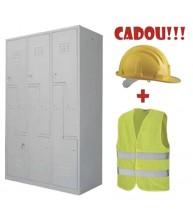 VESTIAR METALIC CU 6 USI Z, ECO + CADOU!!! (6 buc CASCA PROTECTIE  + 6 buc VESTA SEMNALIZARE)