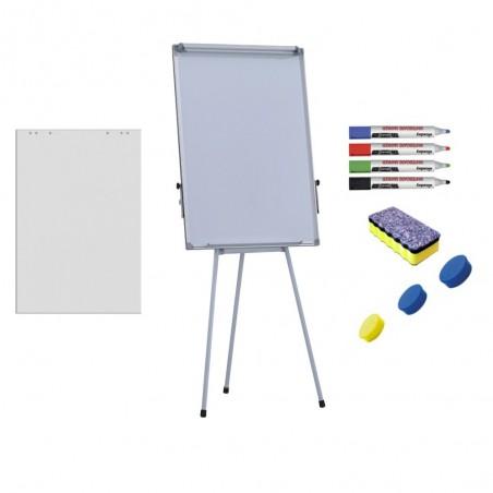 Pachet Flipchart magnetic, 70x100 cm Premium, inaltime ajustabila + accesorii: hartie flipchart, markere, burete, magneti
