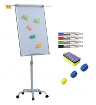 Flipchart mobil, Premium, 70x100 cm, brate laterale, inaltime ajustabila + accesorii: markere, burete, magneti