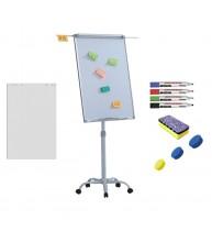 Flipchart mobil, Premium, 70x100 cm, brate laterale, inaltime ajustabila + accesorii: hartie flipchart, markere, burete, magneti